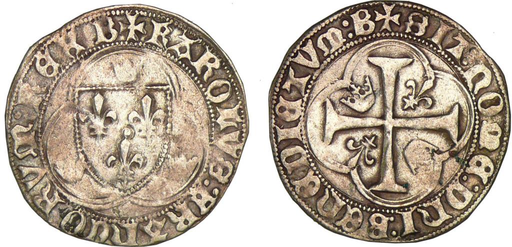 Blanc à la couronne de Charles VII frappé à Bourges ... 11116710