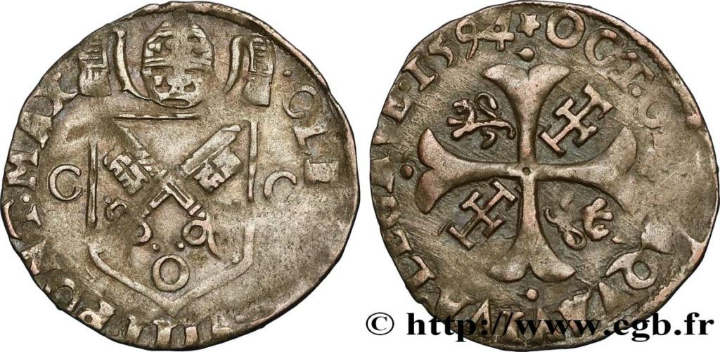 Comtat-Venaissin Clément VIII Douzain d'Octavio Aquaviva Légat en Avignon en 1594 Bfe_3810
