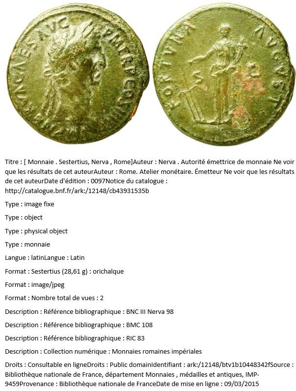 Sesterce de Nerva - FORTVNA - RIC 98 : Recherche même type de rubans ? Bnc_ii10