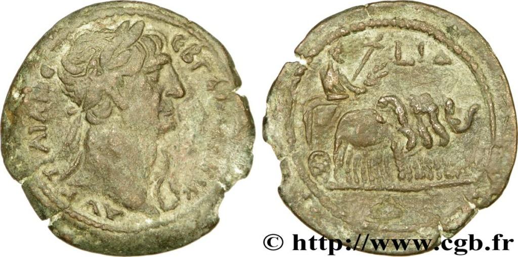 Probablement monnaie provinciale de Trajan, Alexandrie, an 14 du règne, au quadrige d'éléphants Bpv_2710