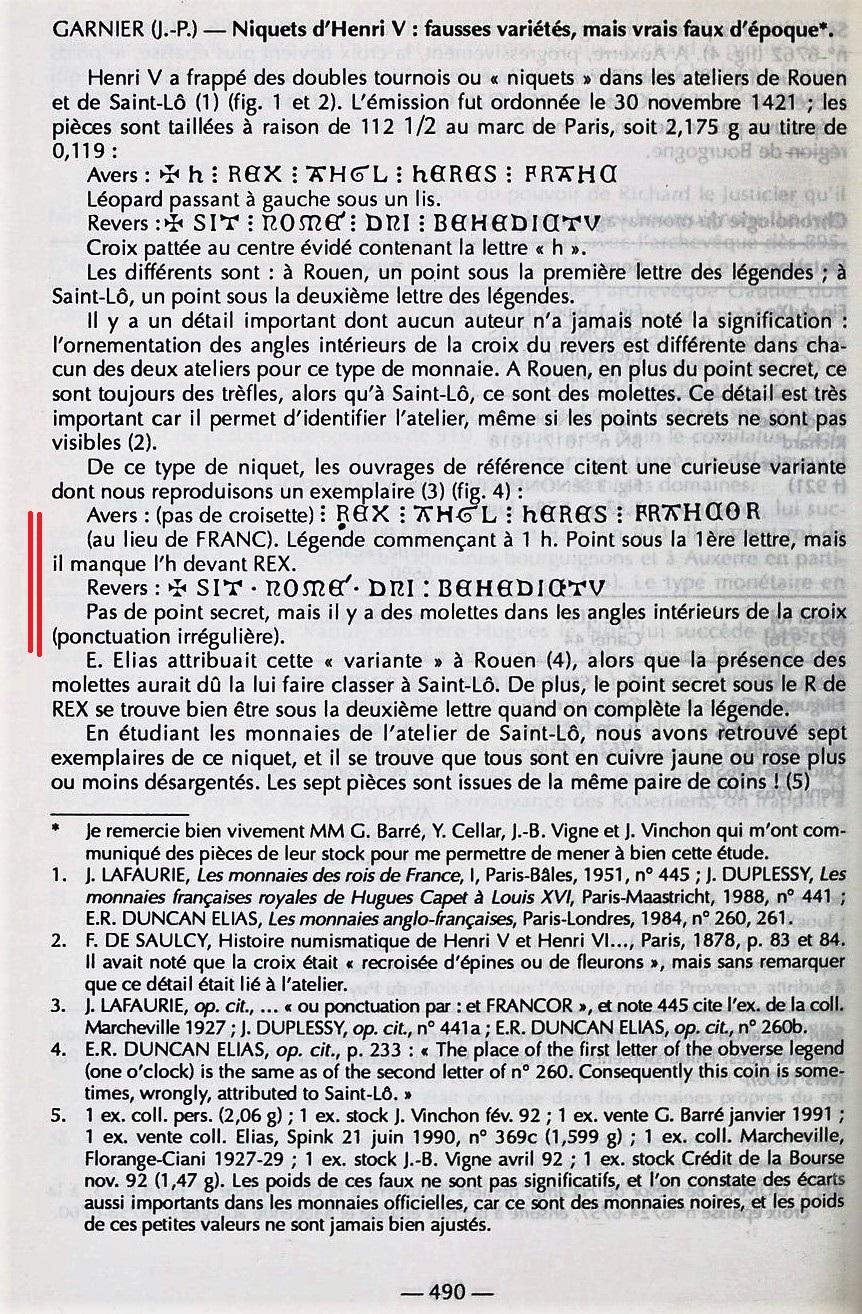 Henry V, Niquet ou Léopard de St Lô, vrai faux d'époque... Autres exemplaires à rechercher ! Bullet16