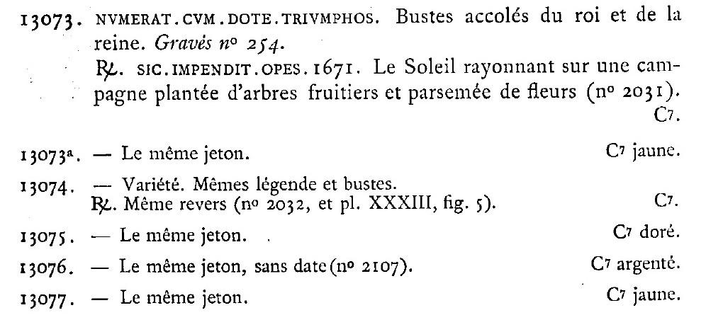 jeton du mariage de Louis XIV avec Marie-Thérèse 1671 Feuard10