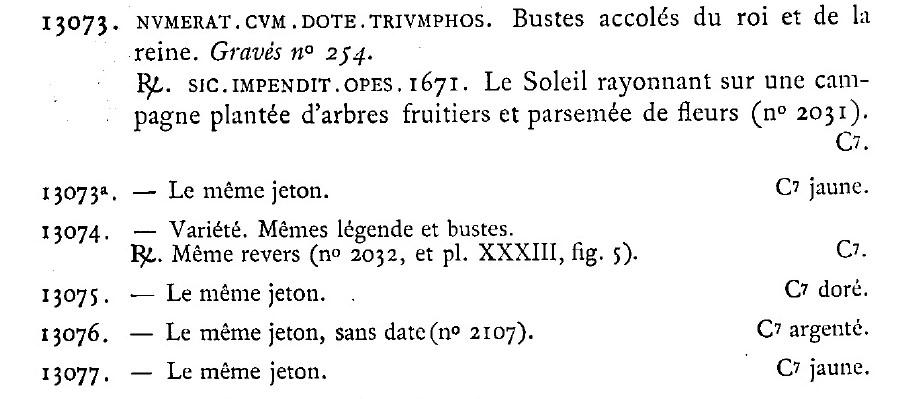Jeton mariage louis XIV 1671 Jeton10