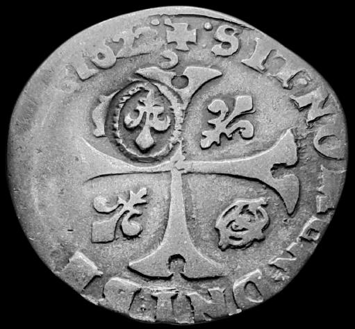 Identification des Différents d'un Douzain Louis XIII Huguenot Montpellier 1622 Contremarqué en 1640 Louis_12