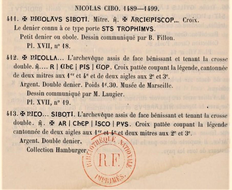 Double denier provençal, Archevêché d'Arles, famille Cibo ... Nicola12