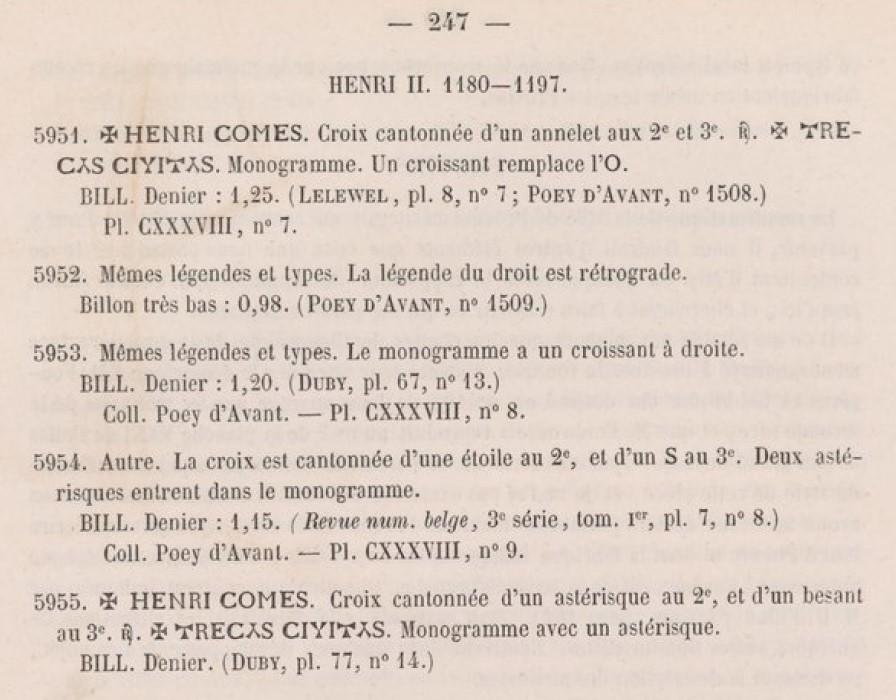 Denier de Billon d'Henri II de Troyes 1180-1197 (PA 5954) Pa10