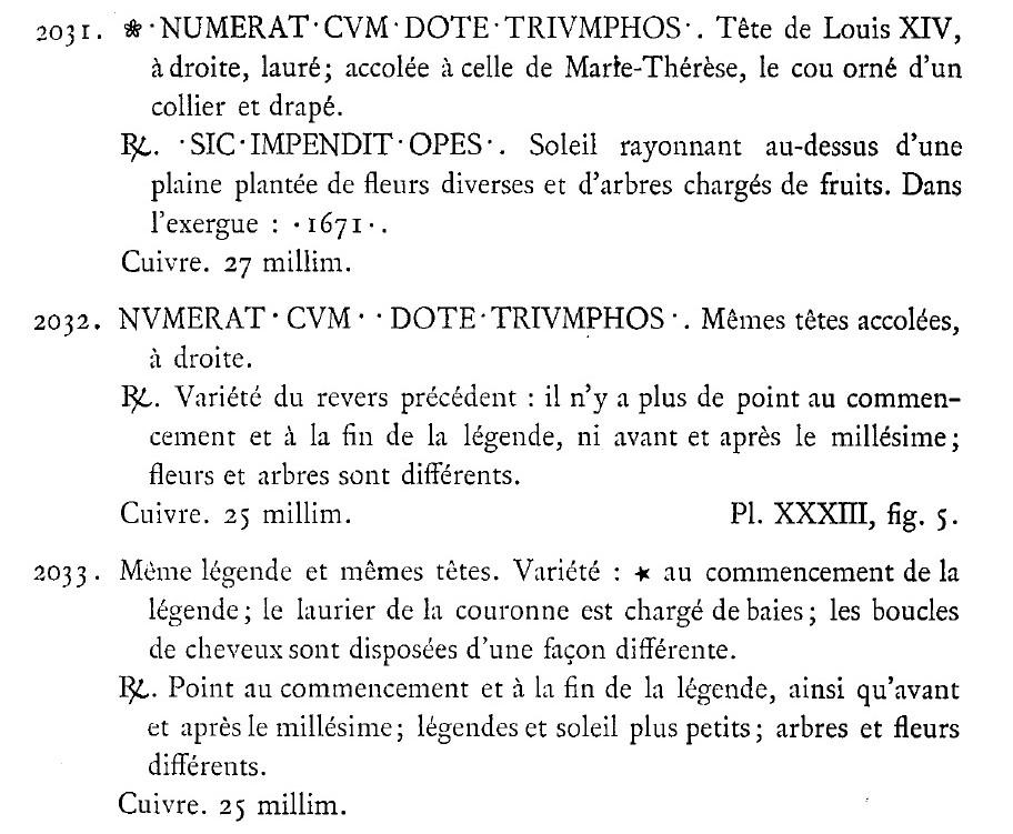 jeton du mariage de Louis XIV avec Marie-Thérèse 1671 Rouyer10