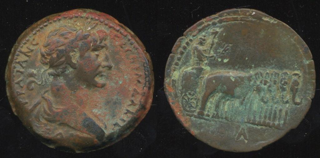 Probablement monnaie provinciale de Trajan, Alexandrie, an 14 du règne, au quadrige d'éléphants Trajal10