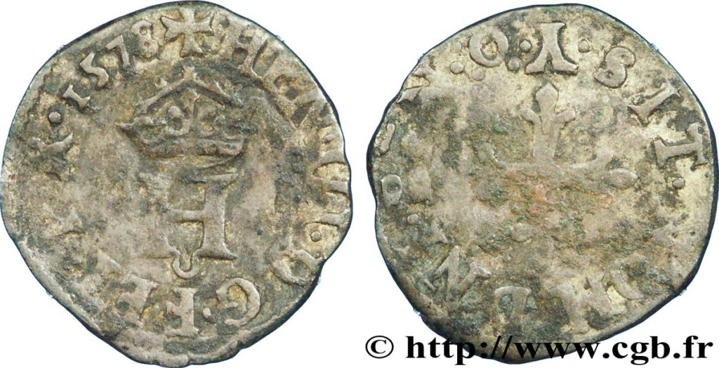 Liard à l'H couronnée de Henri III de l'atelier de Bourges (Y et différent au O entre 4 pts) de 1579 V37_0310