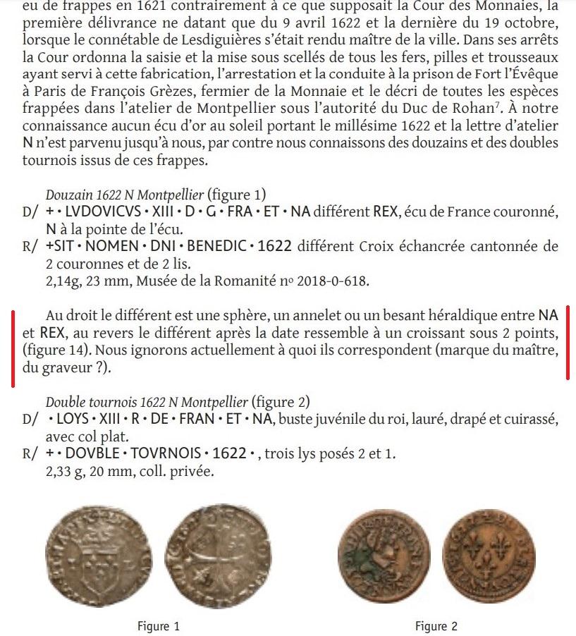 Identification des Différents d'un Douzain Louis XIII Huguenot Montpellier 1622 Contremarqué en 1640 Wack_210