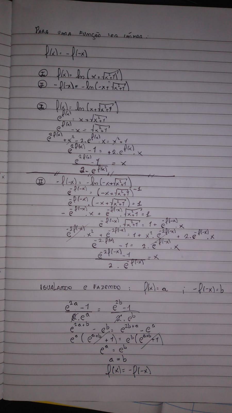 Demonstre que a função é impar e encontre sua inversa Whatsa23