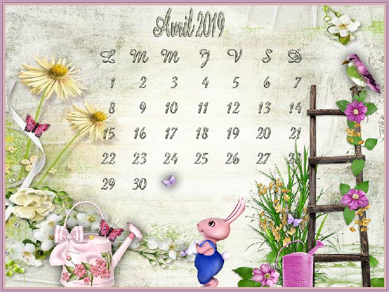 Calendrier du mois d'Avril Calend12