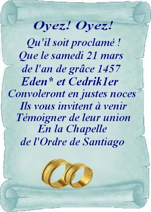 Invitation au mariage d'Eden et de Cedrik Bansfi10