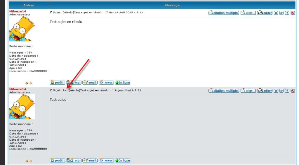 """[PHPBB2]Supprimer le tag """"Re"""" sur les messages 1140"""