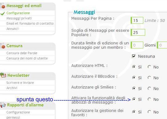 Attivare la funzionalitá bozze degli utenti Bozza110