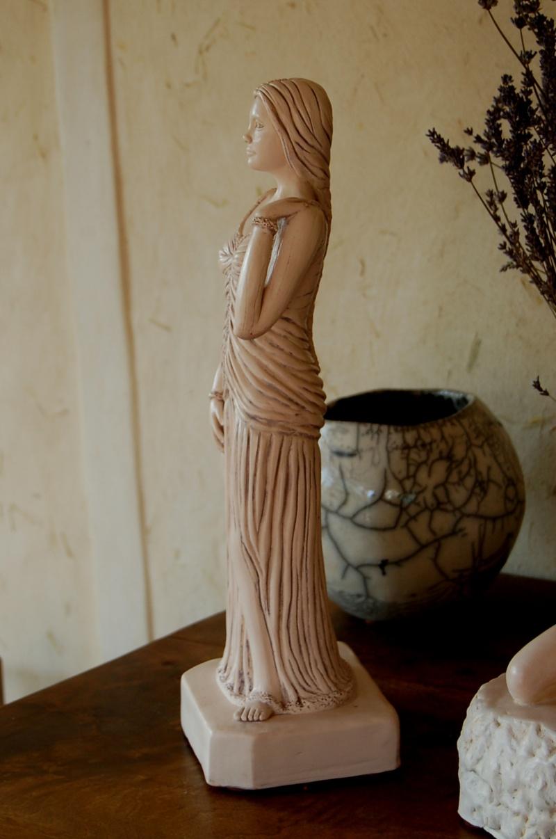 Sculpture modelage drapé après patine bleutée Olympe22