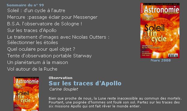 """Petite recherche à titre personnel au sujet de """"Astronomie Magazine"""" Astro10"""