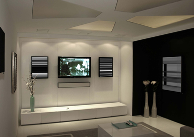 salon dedié à la projection avec un mur noir , qu'elle couleur pour les autres murs? Hc110