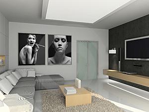 salon dedié à la projection avec un mur noir , qu'elle couleur pour les autres murs? Modern10