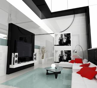 salon dedié à la projection avec un mur noir , qu'elle couleur pour les autres murs? White-10