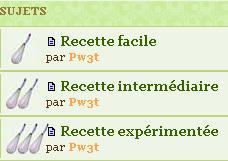 Notes selon difficulté des recettes Fouet311