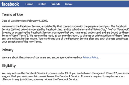 Update 2/19/09: Facebook backs off Terms of Use changes…or does it? Facebo10
