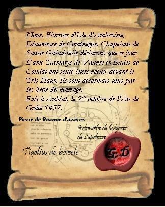 Mariage de Paillard et Tiamarys (22 octobre 1457) Parche11