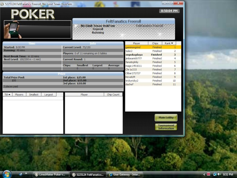 Great tourney on linesmaker today Thanks guys! Felt_f11
