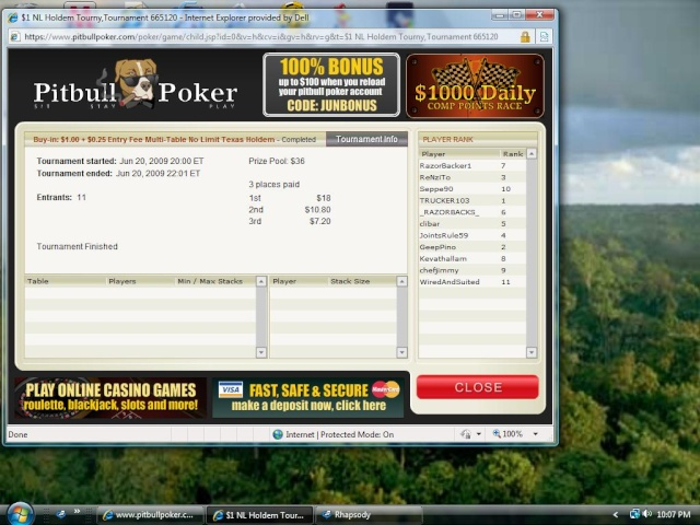 $25.00 added at Pitbull Poker Ff_buy12