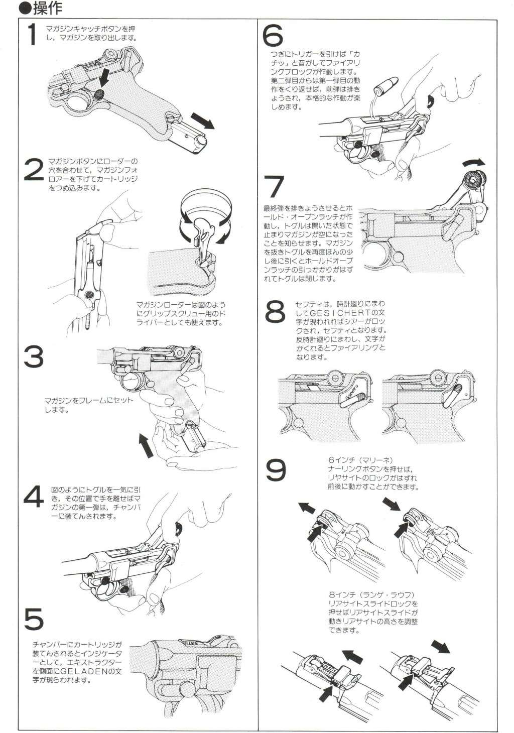 Marushin Metal KIT Dummy Cartridge Model LUGER P08 cal. 9 mm Instruction Manual B10