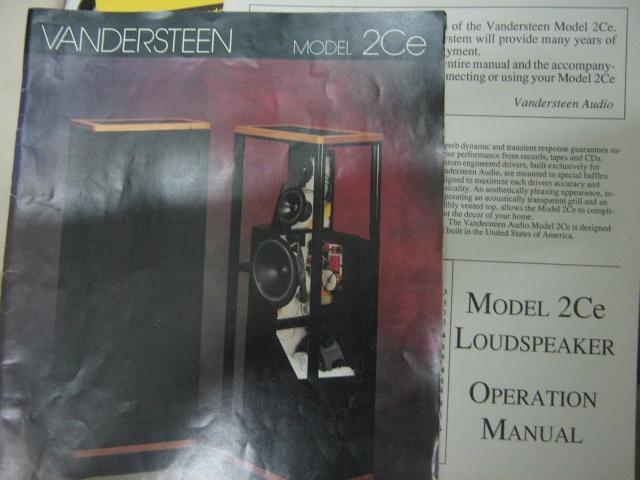 Vandersteen 2ce speakers manual (Used) Img_0313