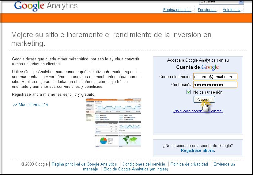 Posibilidad directa de poner su codigo Google Analytics Google11