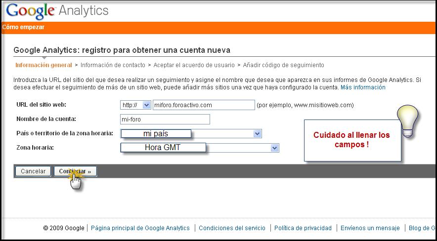 Posibilidad directa de poner su codigo Google Analytics Google13