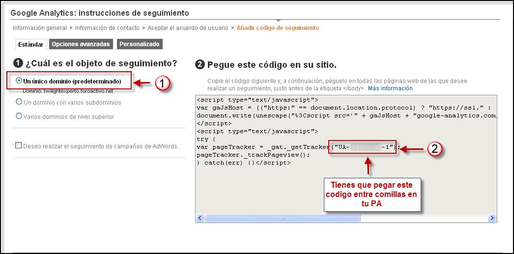 Posibilidad directa de poner su codigo Google Analytics Google15