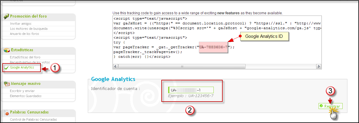 Posibilidad directa de poner su codigo Google Analytics Google17
