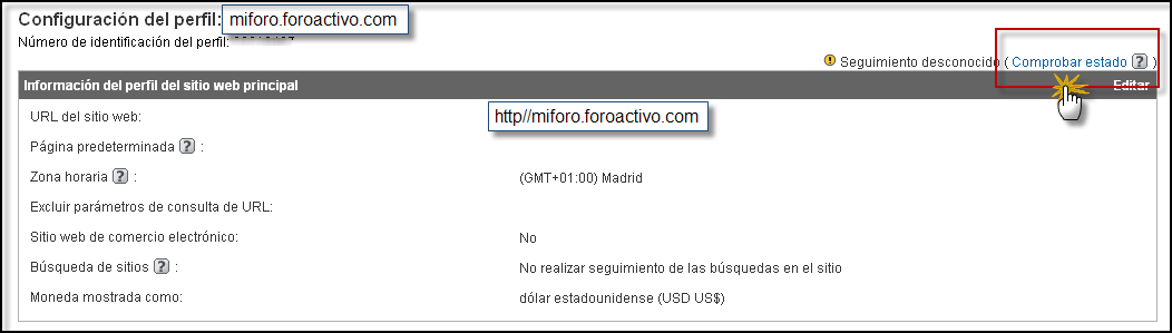 Posibilidad directa de poner su codigo Google Analytics Google20