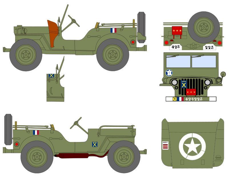 Jeep du Général Leclerc, projet de décals au 35e Jeep_g10