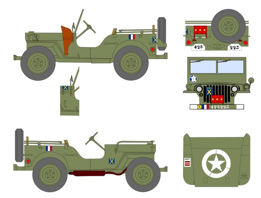 Jeep du Général Leclerc, projet de décals au 35e Jeep_g11