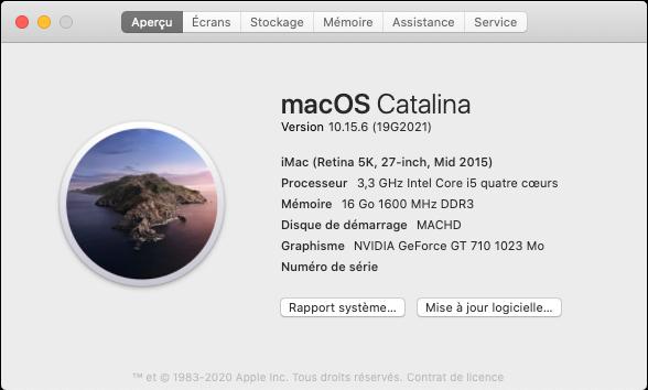 macOS Catalina 10.15.6 Mise a jour supplémentaire (19G2021) Captu168