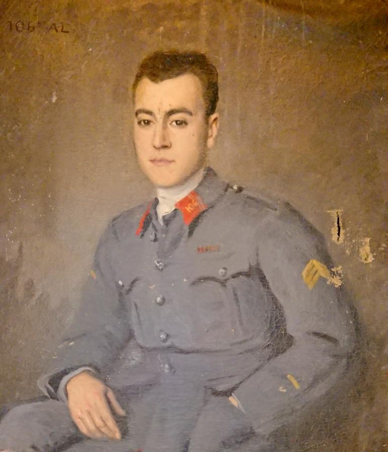 SUPERBE GRANDE PEINTURE D'UN SOUS LIEUTENANT DU 106 D'ARTILLERIE LOURDE 1917 00310