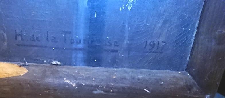 SUPERBE GRANDE PEINTURE D'UN SOUS LIEUTENANT DU 106 D'ARTILLERIE LOURDE 1917 004jpg10