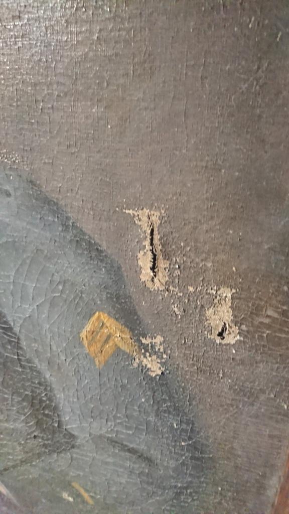 SUPERBE GRANDE PEINTURE D'UN SOUS LIEUTENANT DU 106 D'ARTILLERIE LOURDE 1917 005b10