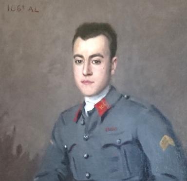 SUPERBE GRANDE PEINTURE D'UN SOUS LIEUTENANT DU 106 D'ARTILLERIE LOURDE 1917 01110