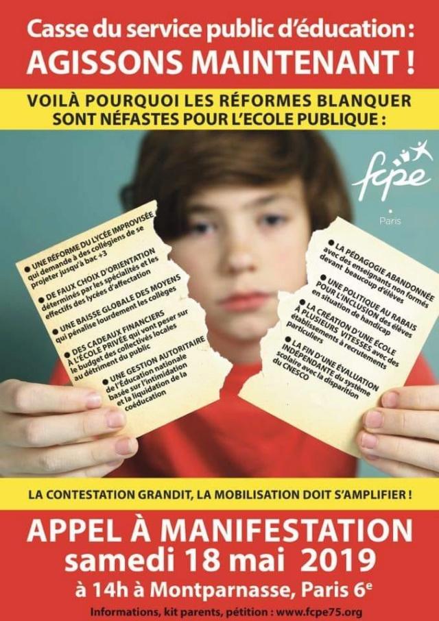 Samedi 18 mai : manifestation à Paris pour l'Education 59989810