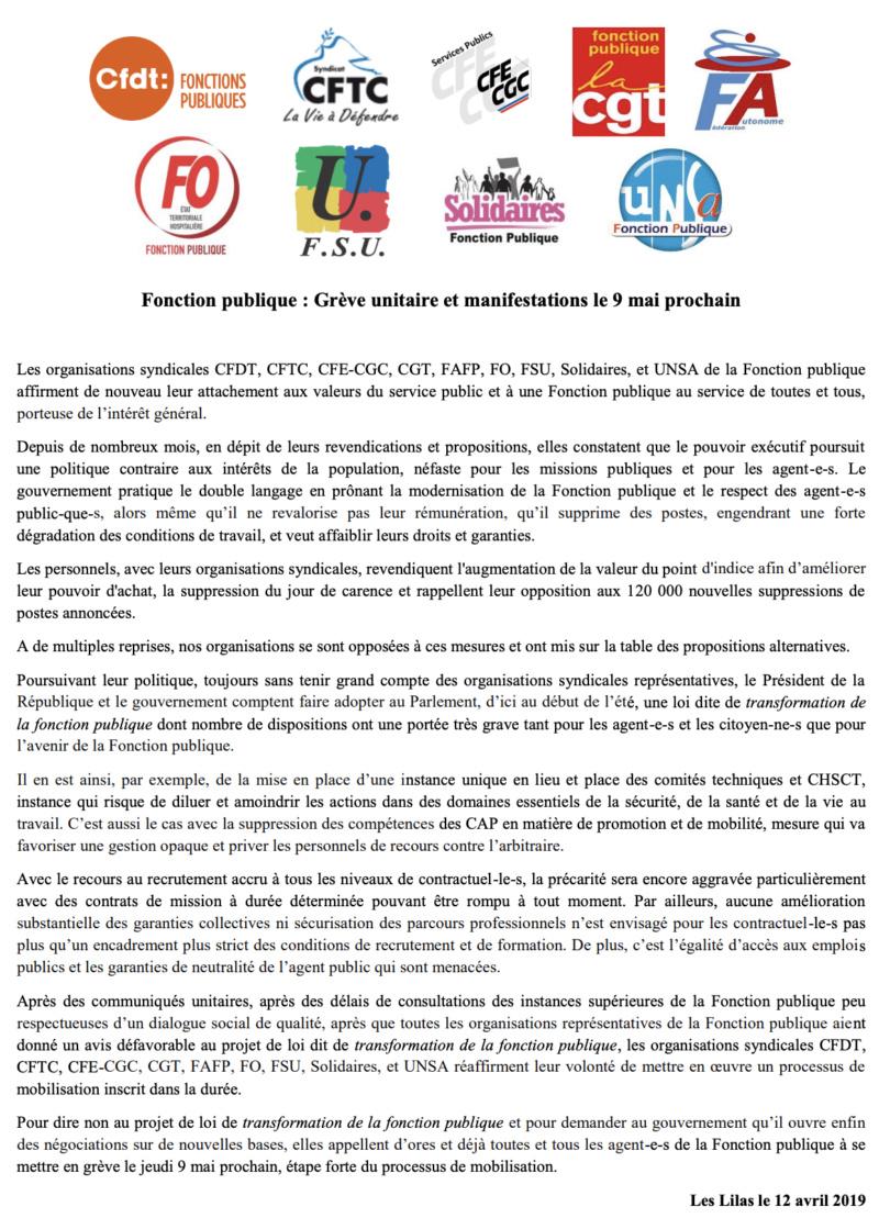 9 mai : grève unitaire de la Fonction Publique Captur60