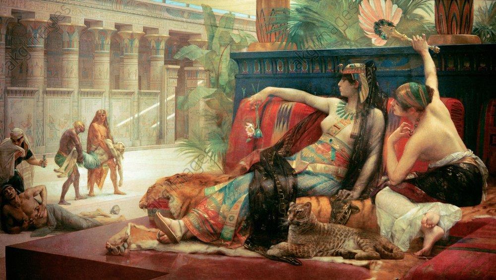 Cléopâtre testant des poisons sur des condamnés Akg34110