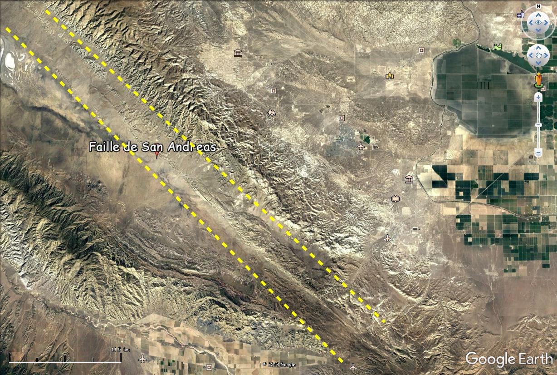 Faille de San Andreas vue du ciel. Faille10