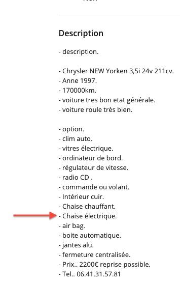 information sur cricri S1 1990 Chaise10