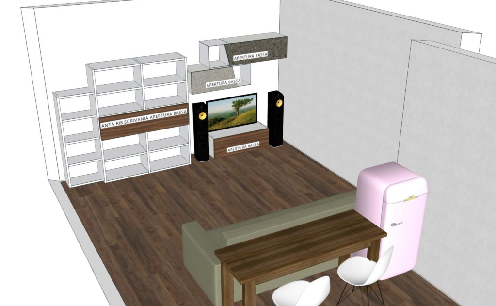 Posizionamento di 4 diffusori in open space a uso promiscuo ascolto + TV Gruppo10