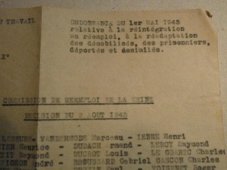 Lot papiers STO Allemagne et rationnement après guerre même personne Lot_ma31